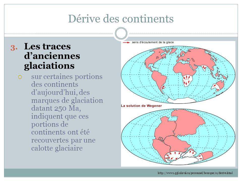 Dérive des continents 3. Les traces d'anciennes glaciations  sur certaines portions des continents d'aujourd'hui, des marques de glaciation datant 25