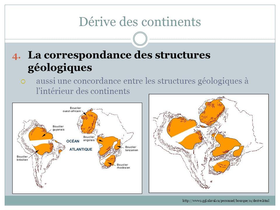 Dérive des continents 4. La correspondance des structures géologiques  aussi une concordance entre les structures géologiques à l'intérieur des conti