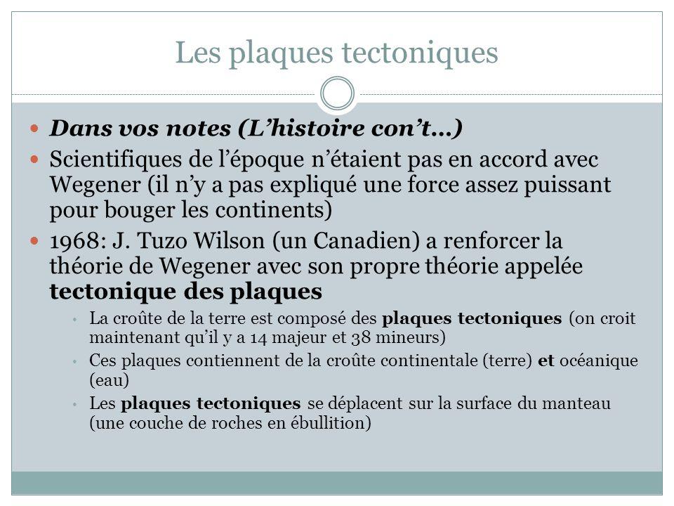 Les plaques tectoniques Dans vos notes (L'histoire con't…) Scientifiques de l'époque n'étaient pas en accord avec Wegener (il n'y a pas expliqué une f