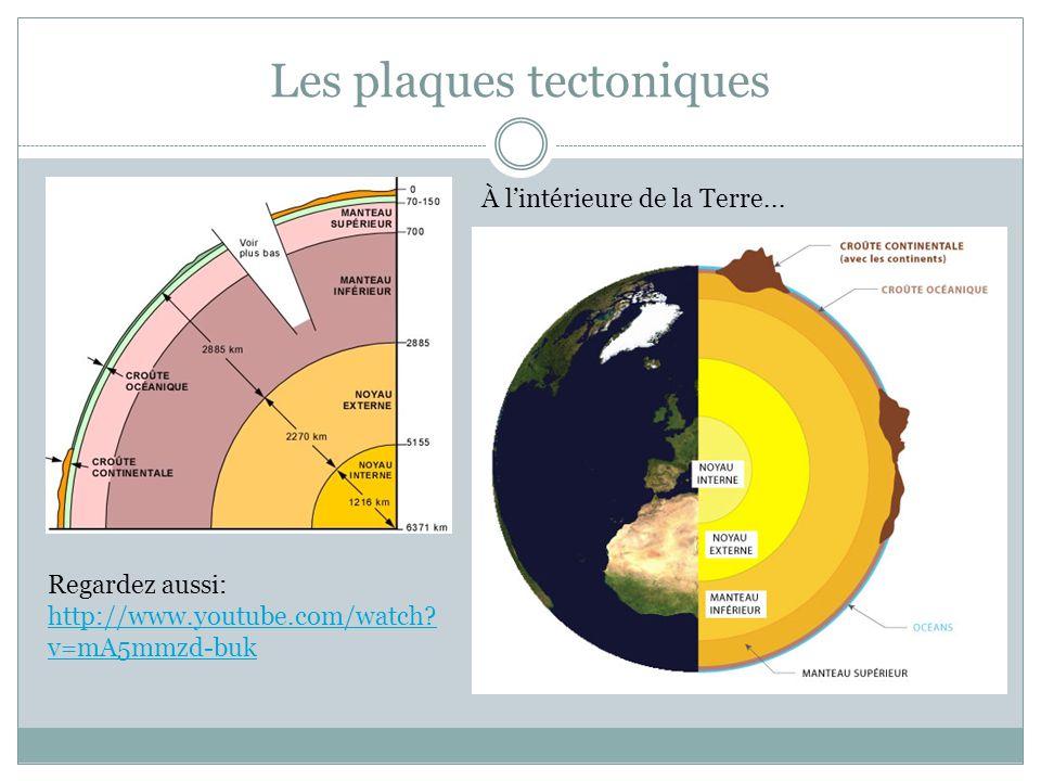 Les plaques tectoniques Regardez aussi: http://www.youtube.com/watch? v=mA5mmzd-buk http://www.youtube.com/watch? v=mA5mmzd-buk À l'intérieure de la T