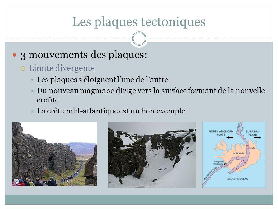 3 mouvements des plaques:  Limite divergente  Les plaques s'éloignent l'une de l'autre  Du nouveau magma se dirige vers la surface formant de la no