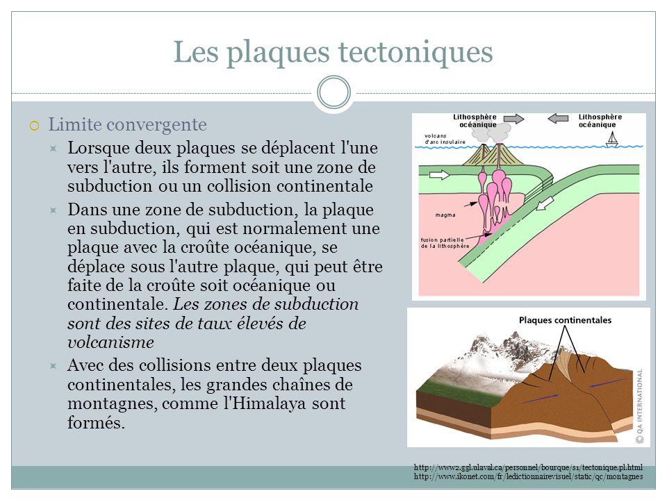 Les plaques tectoniques  Limite convergente  Lorsque deux plaques se déplacent l'une vers l'autre, ils forment soit une zone de subduction ou un col