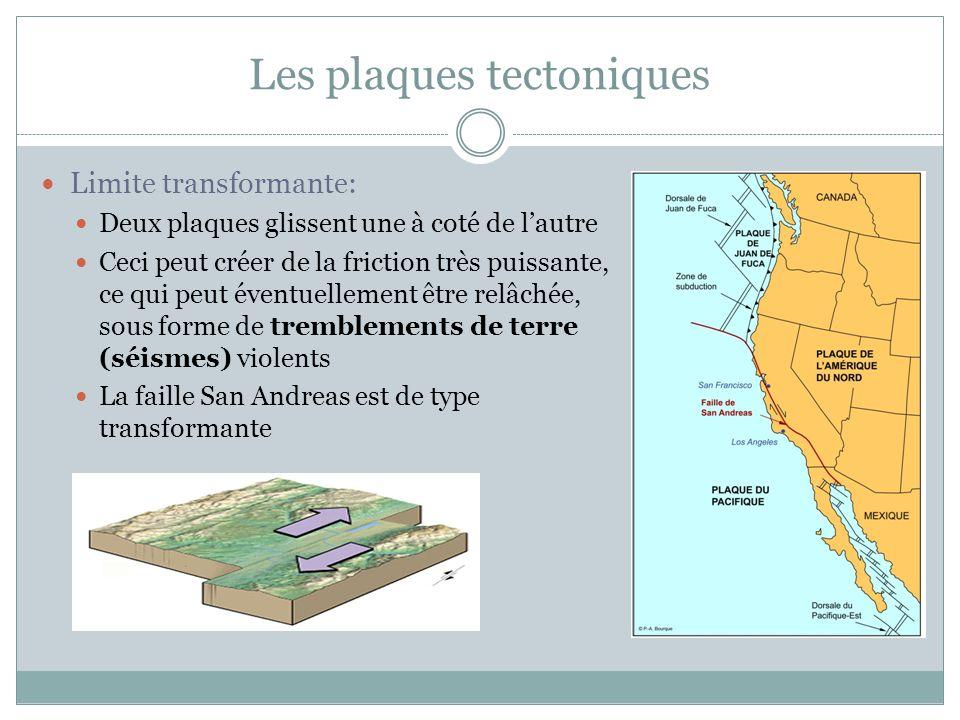 Les plaques tectoniques Limite transformante: Deux plaques glissent une à coté de l'autre Ceci peut créer de la friction très puissante, ce qui peut é