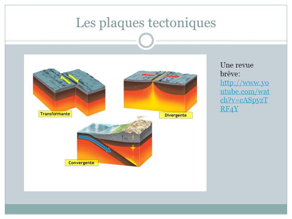 Les plaques tectoniques Une revue brève: http://www.yo utube.com/wat ch?v=cASpyzT RF4Y