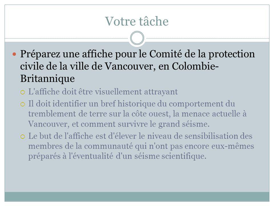 Votre tâche Préparez une affiche pour le Comité de la protection civile de la ville de Vancouver, en Colombie- Britannique  L'affiche doit être visue