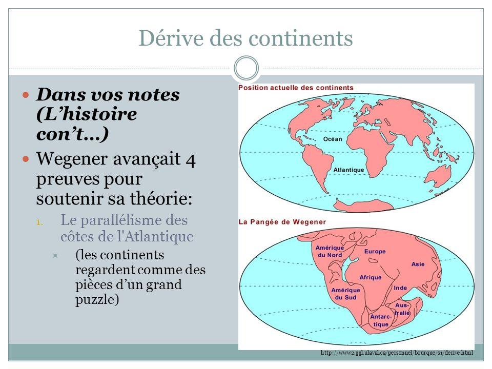 Dérive des continents Dans vos notes (L'histoire con't…) Wegener avançait 4 preuves pour soutenir sa théorie: 1. Le parallélisme des côtes de l'Atlant