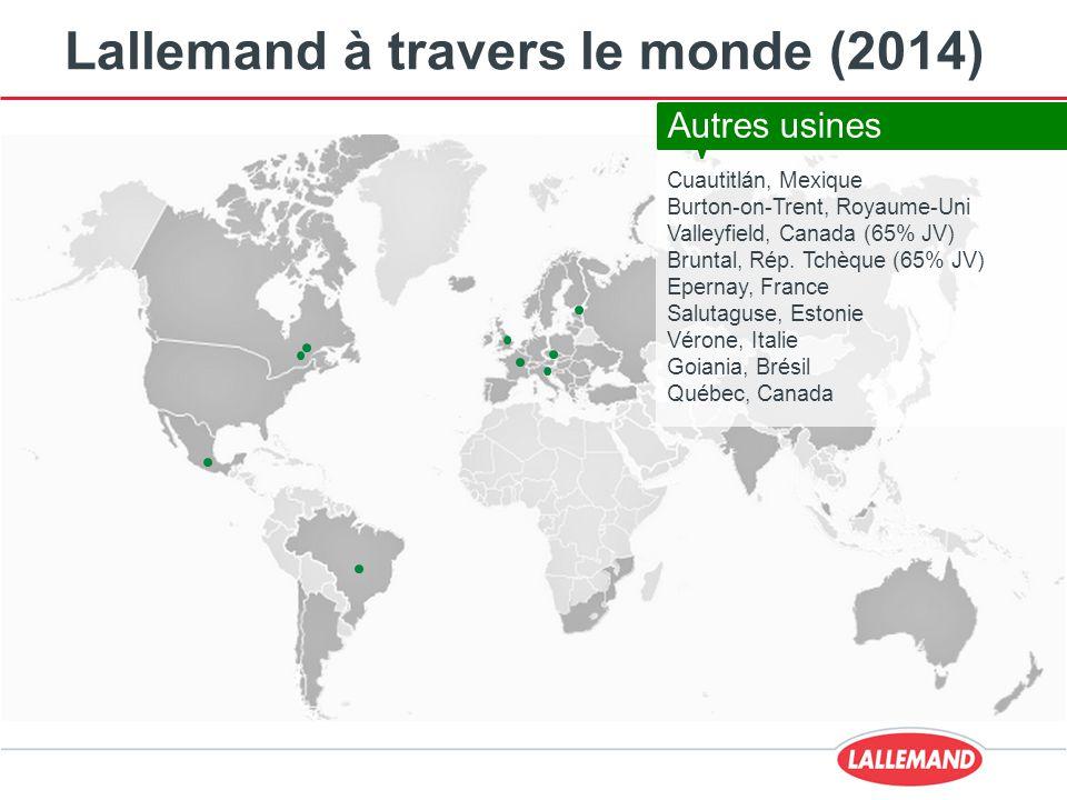 Lallemand à travers le monde (2014) Cuautitlán, Mexique Burton-on-Trent, Royaume-Uni Valleyfield, Canada (65% JV) Bruntal, Rép. Tchèque (65% JV) Epern