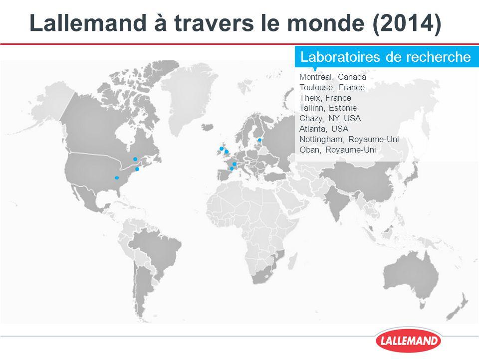 Lallemand à travers le monde (2014) Montréal, Canada Toulouse, France Theix, France Tallinn, Estonie Chazy, NY, USA Atlanta, USA Nottingham, Royaume-Uni Oban, Royaume-Uni Laboratoires de recherche