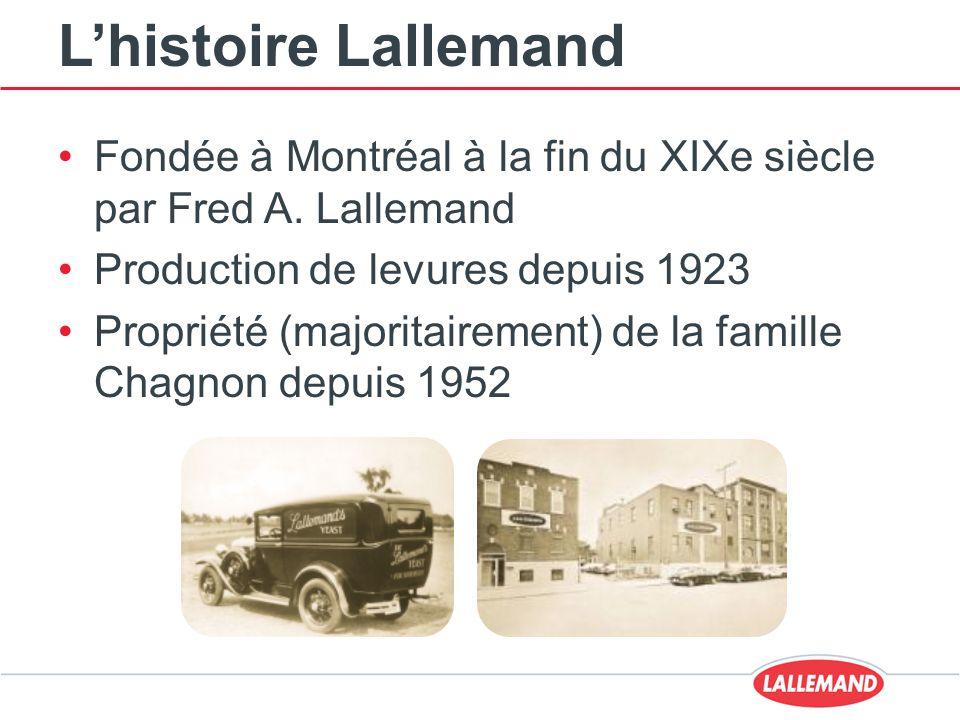 L'histoire Lallemand Fondée à Montréal à la fin du XIXe siècle par Fred A. Lallemand Production de levures depuis 1923 Propriété (majoritairement) de
