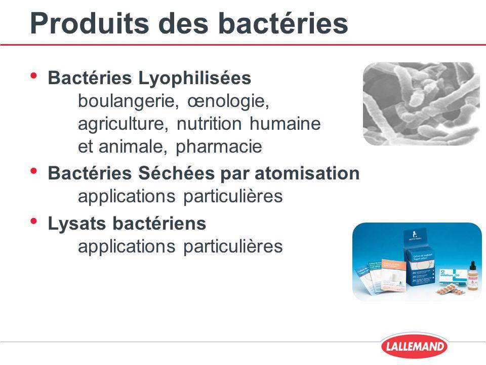 Produits des bactéries Bactéries Lyophilisées boulangerie, œnologie, agriculture, nutrition humaine et animale, pharmacie Bactéries Séchées par atomisation applications particulières Lysats bactériens applications particulières