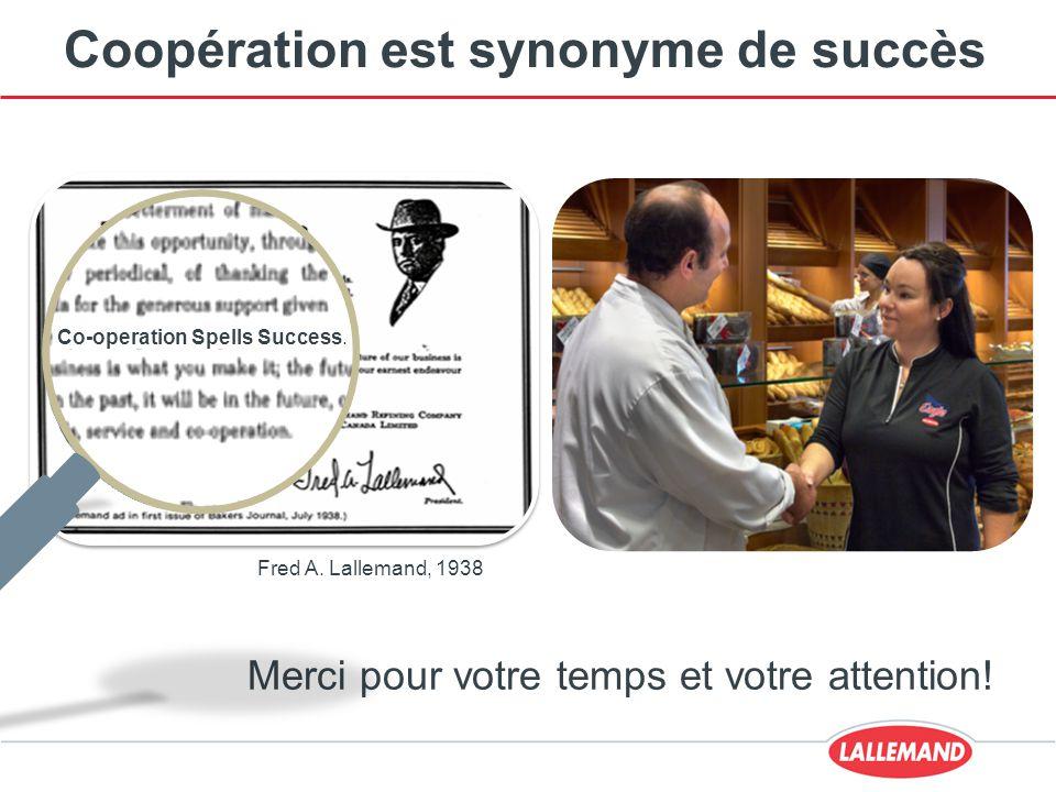 Coopération est synonyme de succès Merci pour votre temps et votre attention! Fred A. Lallemand, 1938 Co-operation Spells Success.