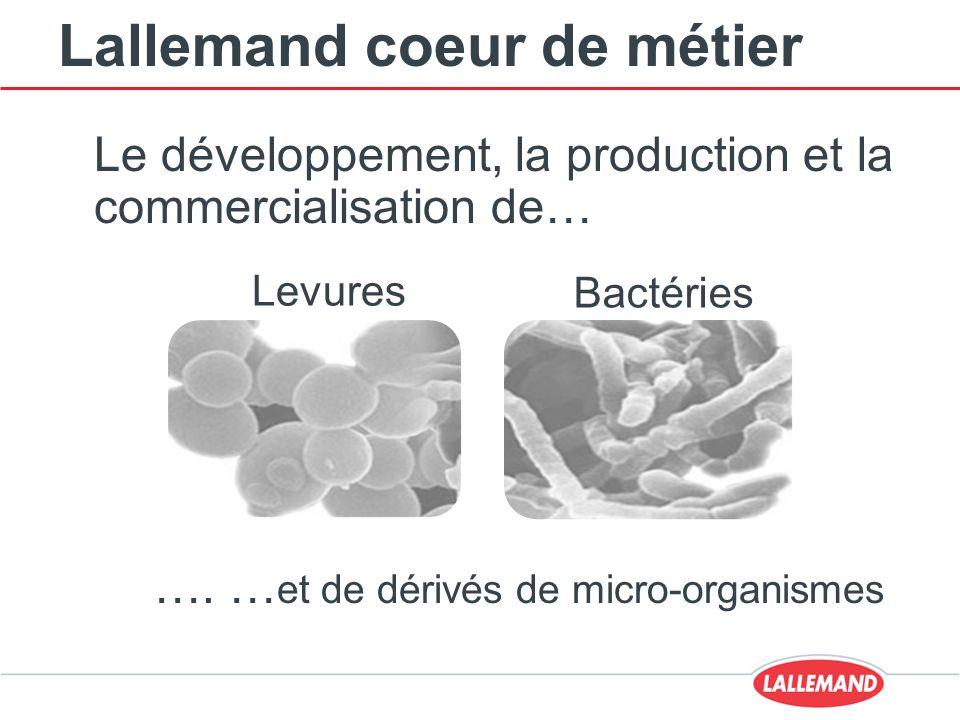Lallemand coeur de métier Le développement, la production et la commercialisation de… …. … et de dérivés de micro-organismes Levures Bactéries