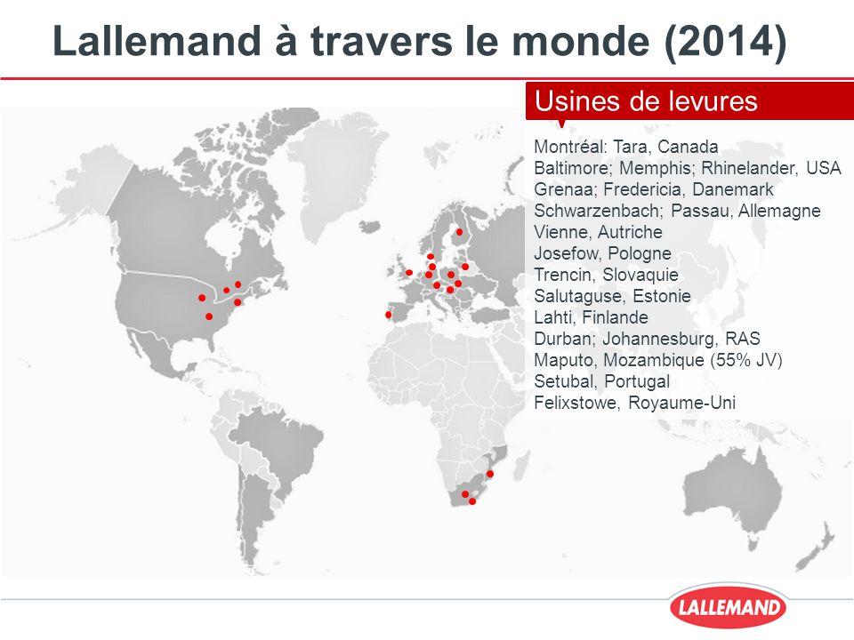 Lallemand à travers le monde (2014) Montréal; Mirabel Canada Milwaukee, USA St-Simon, France Malvern, Royaume-Uni Usines de bactéries