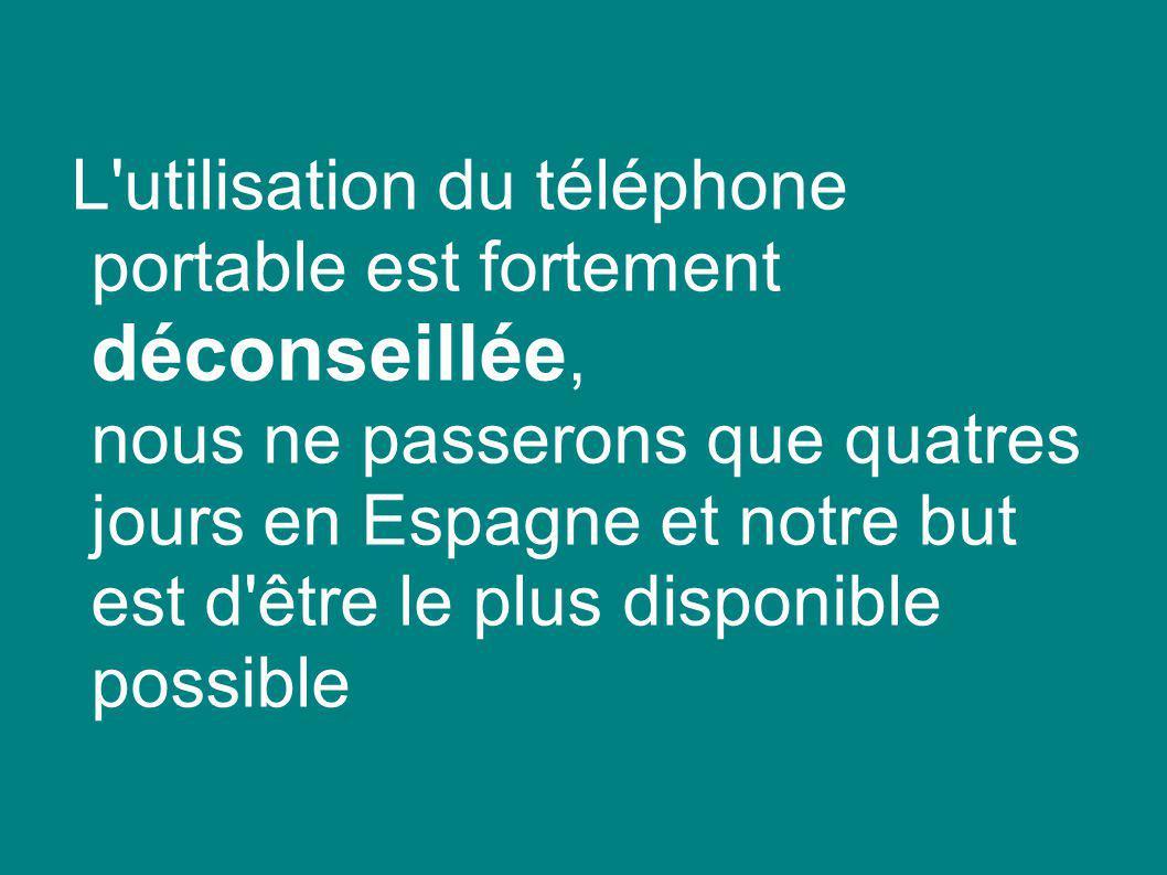L utilisation du téléphone portable est fortement déconseillée, nous ne passerons que quatres jours en Espagne et notre but est d être le plus disponible possible
