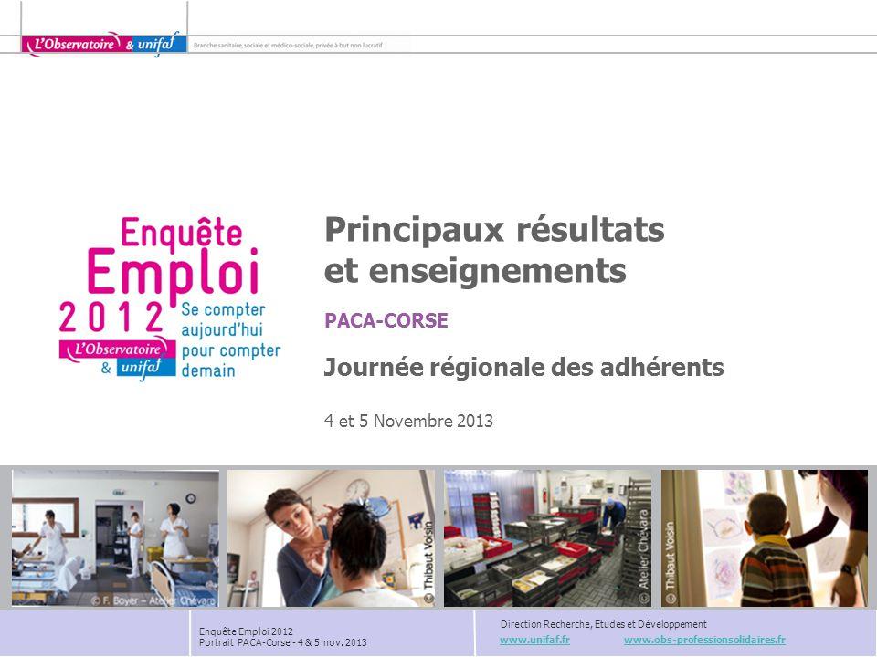www.unifaf.fr www.obs-professionsolidaires.fr Direction Recherche, Etudes et Développement PACA-CORSE Enquête Emploi 2012 Portrait PACA-Corse - 4 & 5
