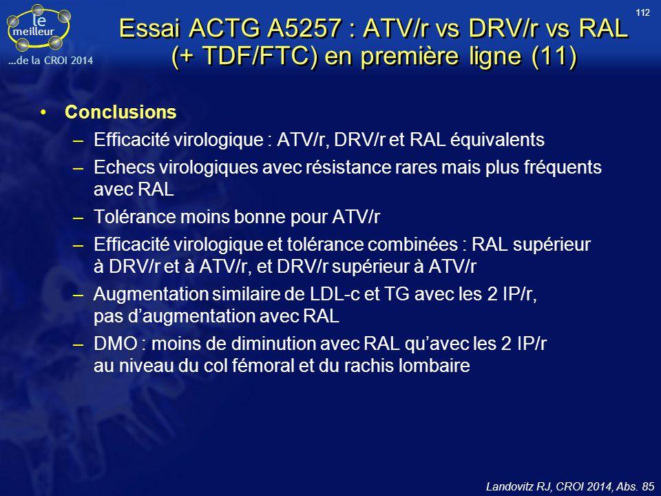 le meilleur …de la CROI 2014 Essai ACTG A5257 : ATV/r vs DRV/r vs RAL (+ TDF/FTC) en première ligne (11) Conclusions –Efficacité virologique : ATV/r,