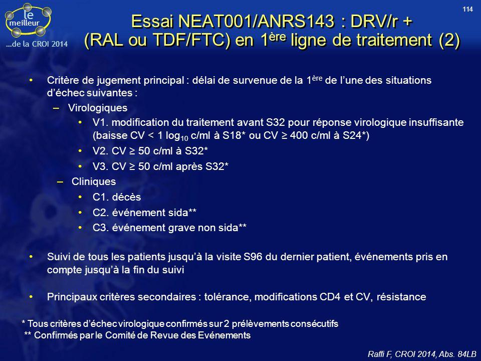 le meilleur …de la CROI 2014 Essai NEAT001/ANRS143 : DRV/r + (RAL ou TDF/FTC) en 1 ère ligne de traitement (2) Critère de jugement principal : délai d