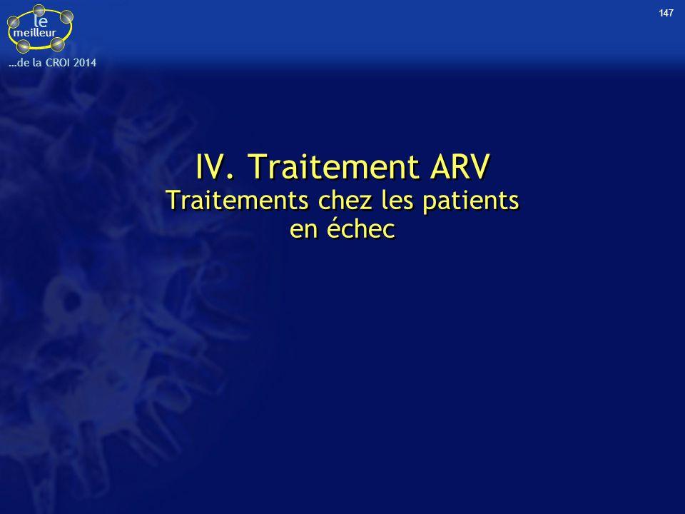 le meilleur …de la CROI 2014 147 IV. Traitement ARV Traitements chez les patients en échec IV. Traitement ARV Traitements chez les patients en échec
