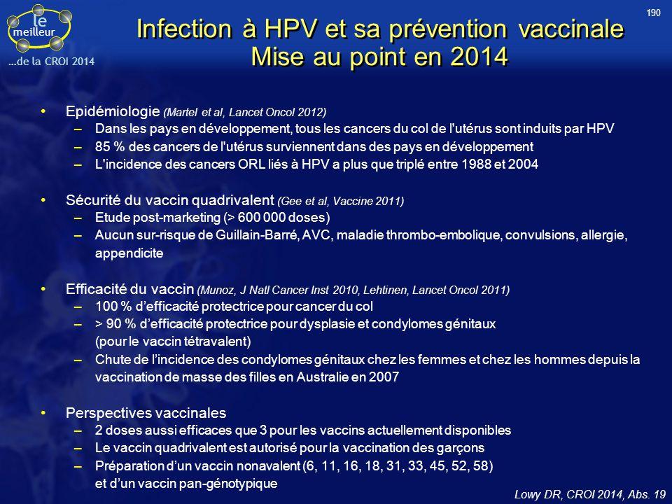 le meilleur …de la CROI 2014 Infection à HPV et sa prévention vaccinale Mise au point en 2014 Epidémiologie (Martel et al, Lancet Oncol 2012) –Dans le