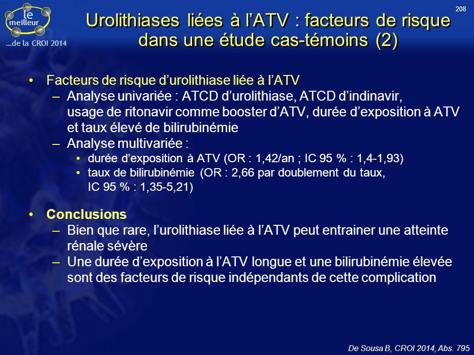 le meilleur …de la CROI 2014 Urolithiases liées à l'ATV : facteurs de risque dans une étude cas-témoins (2) Facteurs de risque d'urolithiase liée à l'