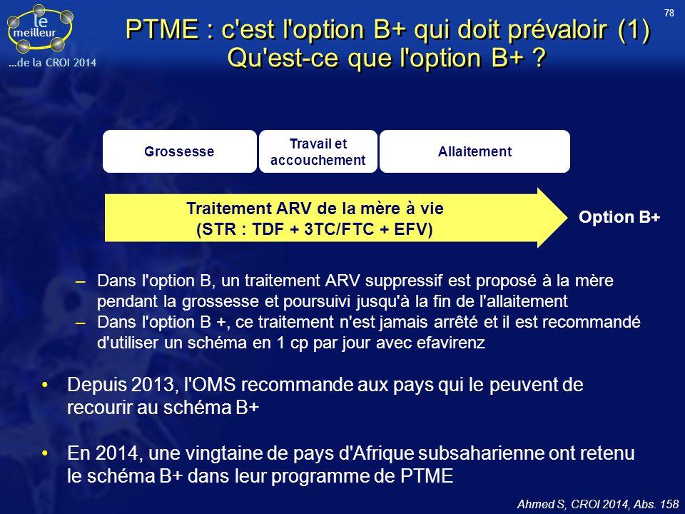 le meilleur …de la CROI 2014 PTME : c'est l'option B+ qui doit prévaloir (1) Qu'est-ce que l'option B+ ? –Dans l'option B, un traitement ARV suppressi