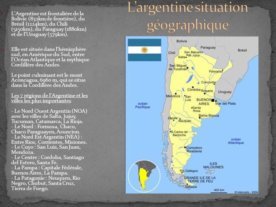 L'Argentine est frontalière de la Bolivie (832km de frontière), du Brésil (1224km), du Chili (5150km), du Paraguay (1880km) et de l'Uruguay (579km). E