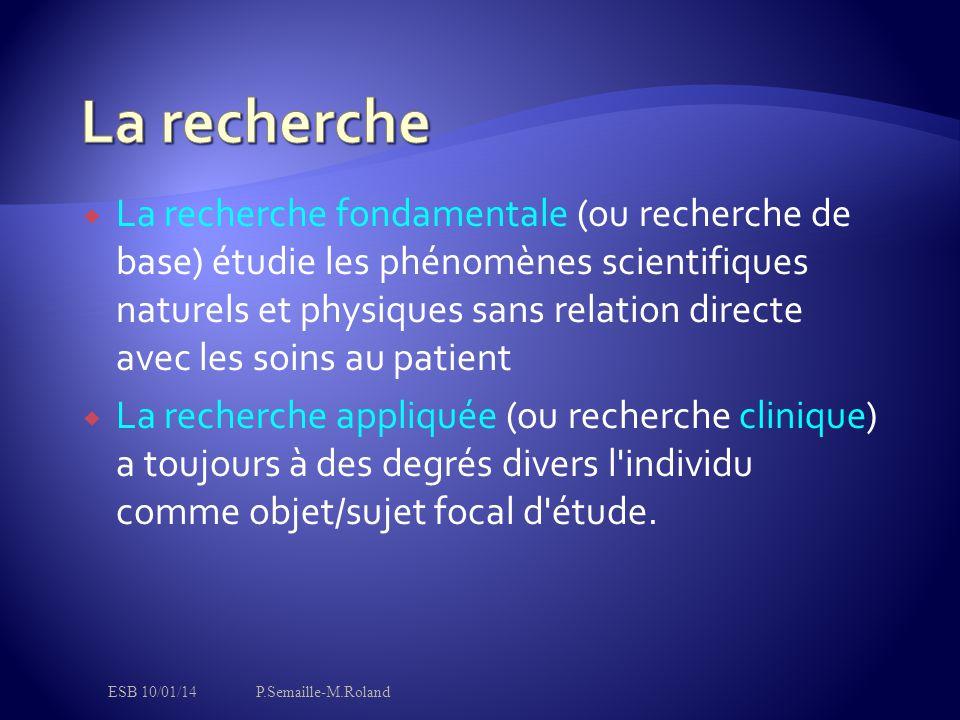  La recherche fondamentale (ou recherche de base) étudie les phénomènes scientifiques naturels et physiques sans relation directe avec les soins au p