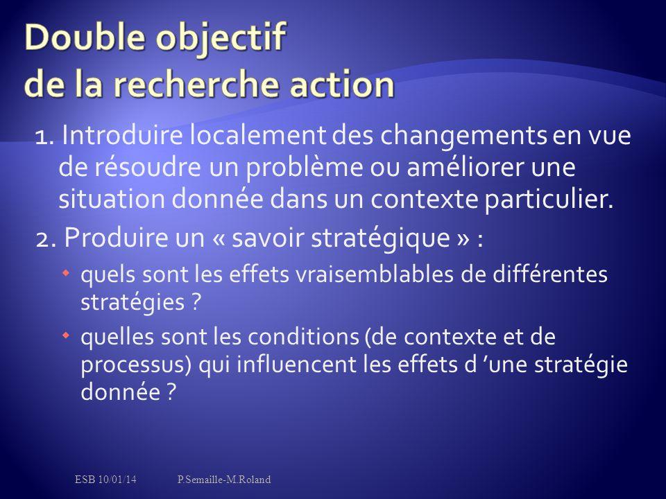 1. Introduire localement des changements en vue de résoudre un problème ou améliorer une situation donnée dans un contexte particulier. 2. Produire un