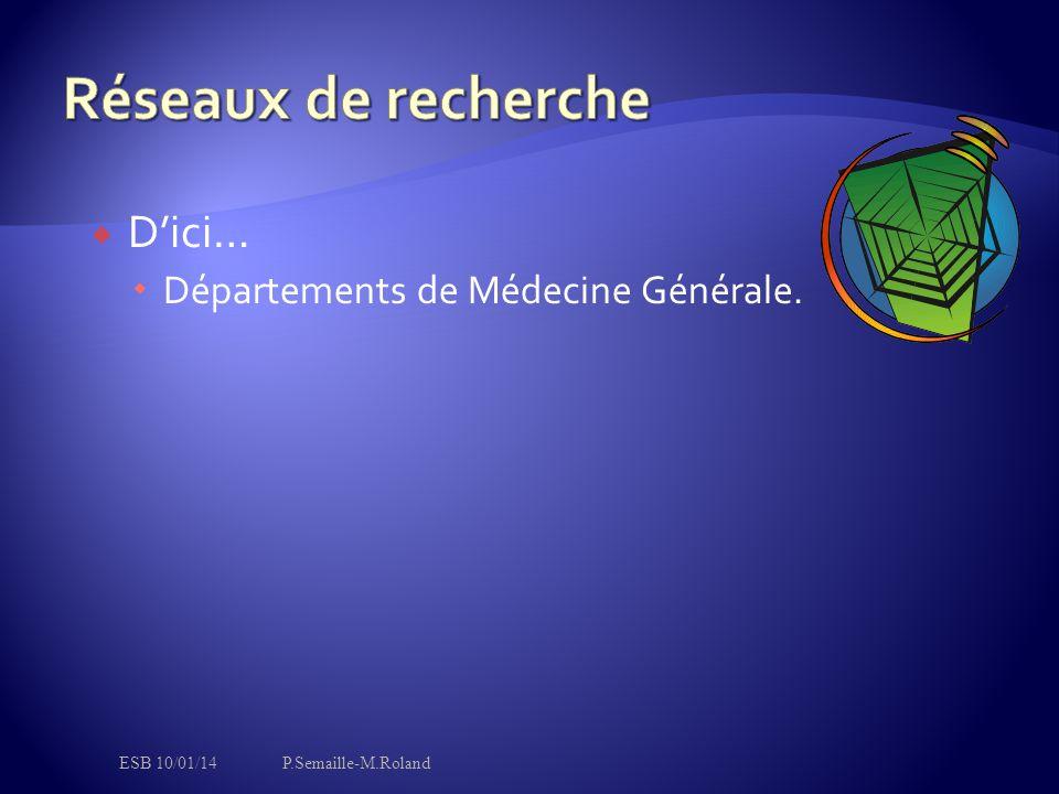  D'ici…  Départements de Médecine Générale. ESB 10/01/14P.Semaille-M.Roland