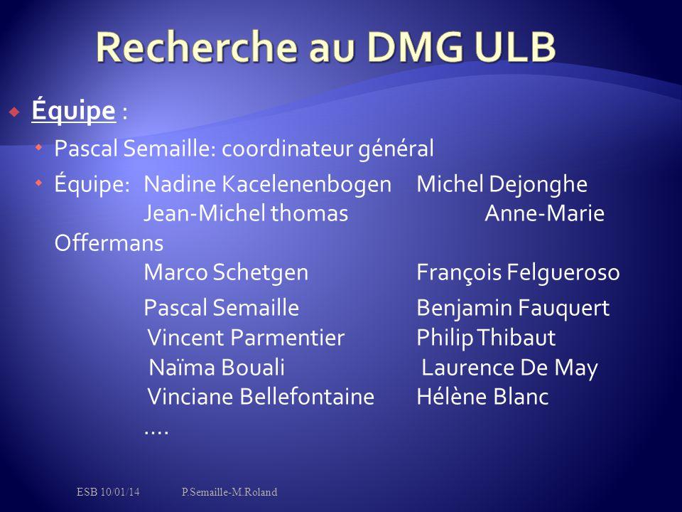  Équipe :  Pascal Semaille: coordinateur général  Équipe: Nadine KacelenenbogenMichel Dejonghe Jean-Michel thomasAnne-Marie Offermans Marco Schetge