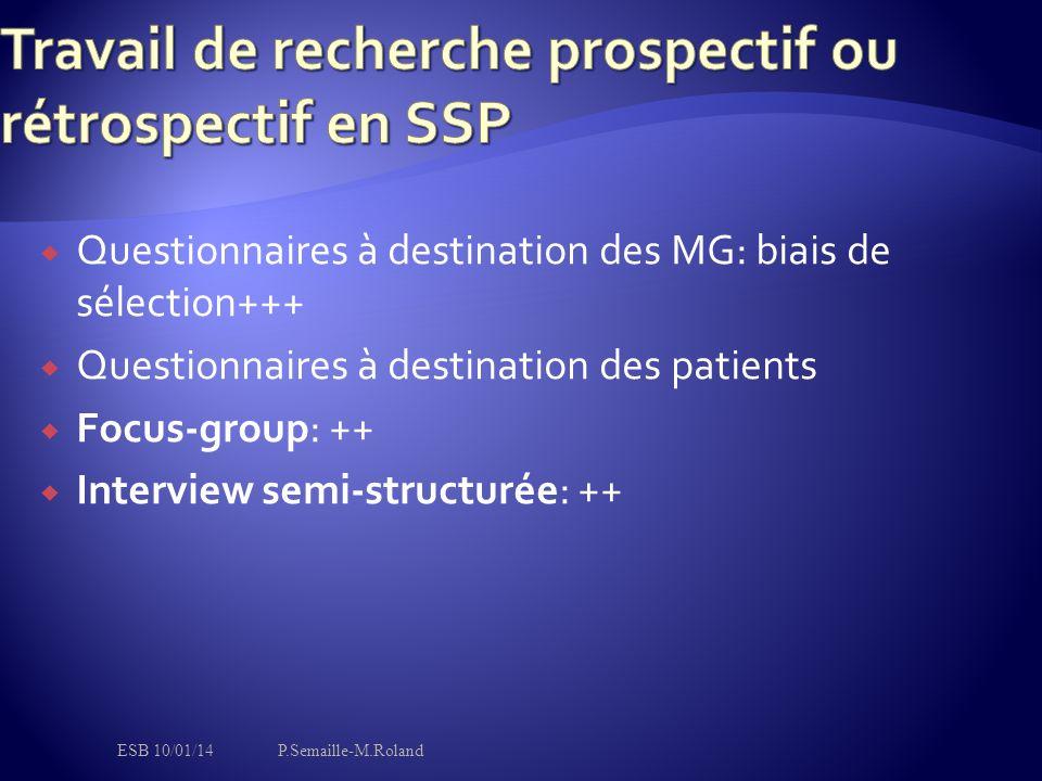  Questionnaires à destination des MG: biais de sélection+++  Questionnaires à destination des patients  Focus-group: ++  Interview semi-structurée: ++ ESB 10/01/14P.Semaille-M.Roland
