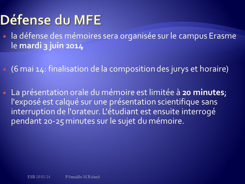  la défense des mémoires sera organisée sur le campus Erasme le mardi 3 juin 2014  (6 mai 14: finalisation de la composition des jurys et horaire)  La présentation orale du mémoire est limitée à 20 minutes; l exposé est calqué sur une présentation scientifique sans interruption de l orateur.