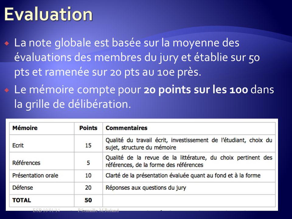  La note globale est basée sur la moyenne des évaluations des membres du jury et établie sur 50 pts et ramenée sur 20 pts au 10e près.  Le mém