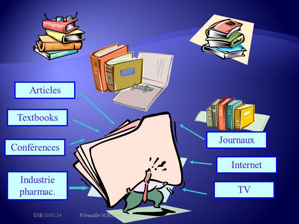 Articles Textbooks Conférences Industrie pharmac. TV Internet Journaux ESB 10/01/14P.Semaille-M.Roland