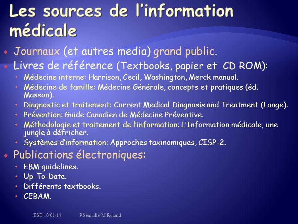  Journaux (et autres media) grand public.  Livres de référence (Textbooks, papier et CD ROM):  Médecine interne: Harrison, Cecil, Washington, Merck