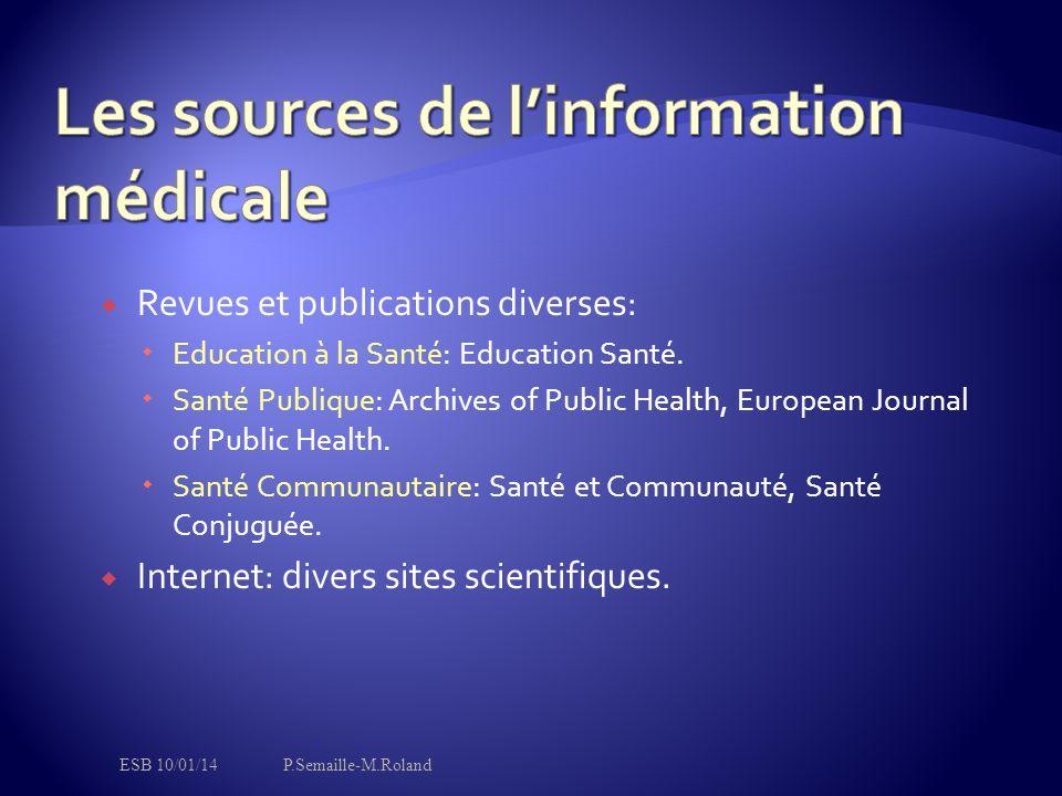  Revues et publications diverses:  Education à la Santé: Education Santé.  Santé Publique: Archives of Public Health, European Journal of Public He