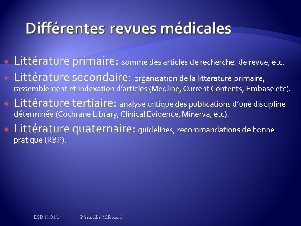  Littérature primaire: somme des articles de recherche, de revue, etc.  Littérature secondaire: organisation de la littérature primaire, rassembleme