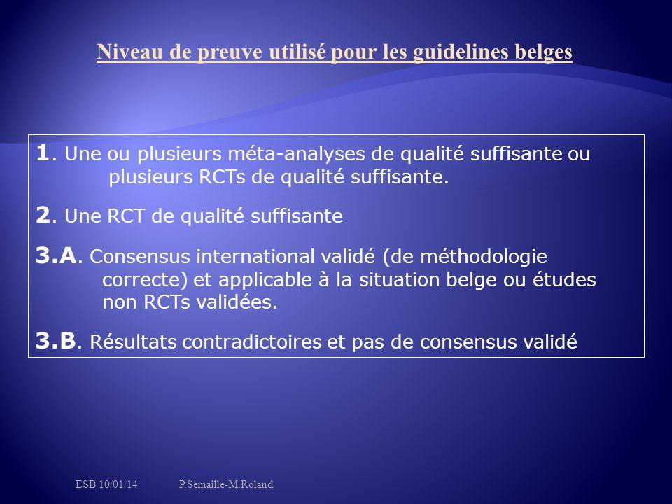 1. Une ou plusieurs méta-analyses de qualité suffisante ou plusieurs RCTs de qualité suffisante. 2. Une RCT de qualité suffisante 3.A. Consensus inter