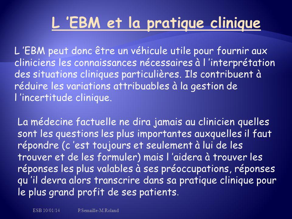 L 'EBM et la pratique clinique L 'EBM peut donc être un véhicule utile pour fournir aux cliniciens les connaissances nécessaires à l 'interprétation des situations cliniques particulières.