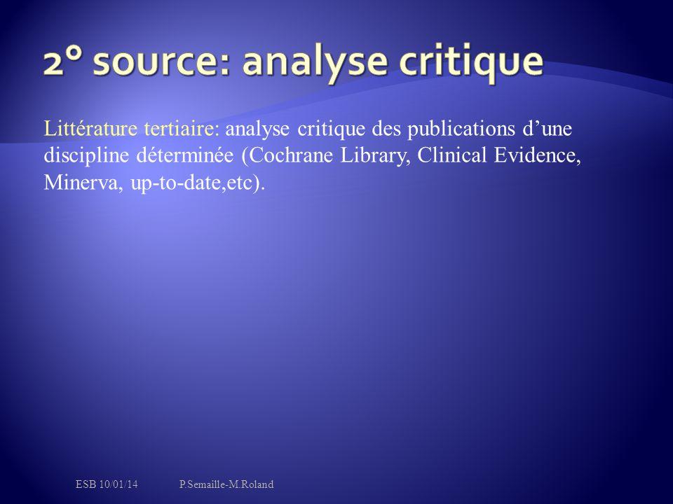 Littérature tertiaire: analyse critique des publications d'une discipline déterminée (Cochrane Library, Clinical Evidence, Minerva, up-to-date,etc).