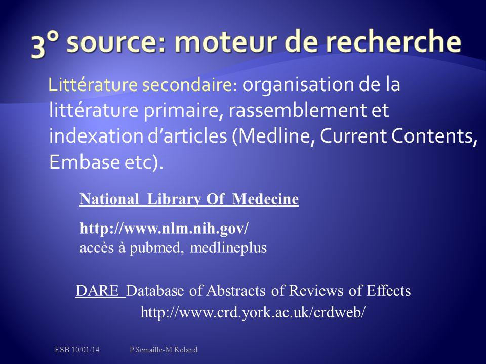 Littérature secondaire: organisation de la littérature primaire, rassemblement et indexation d'articles (Medline, Current Contents, Embase etc). Natio