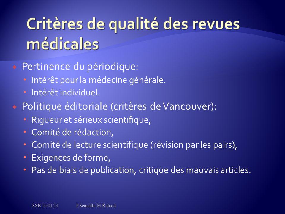  Pertinence du périodique:  Intérêt pour la médecine générale.  Intérêt individuel.  Politique éditoriale (critères de Vancouver):  Rigueur et sé