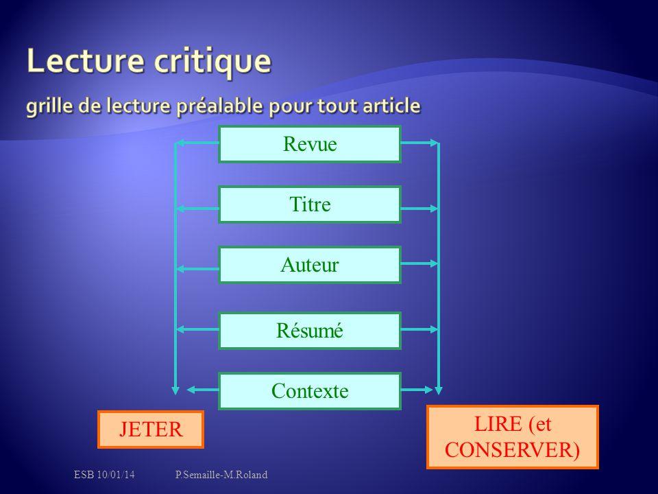 Revue Titre Auteur Résumé Contexte JETER LIRE (et CONSERVER) ESB 10/01/14P.Semaille-M.Roland
