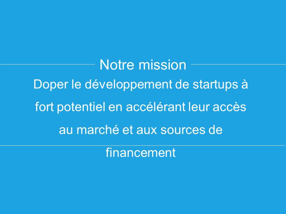 Notre mission Doper le développement de startups à fort potentiel en accélérant leur accès au marché et aux sources de financement