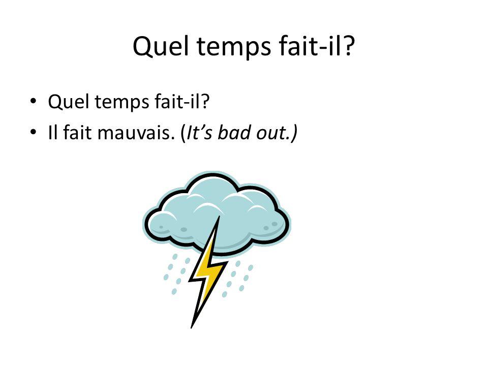 Quel temps fait-il? Il pleut. (It's raining.)