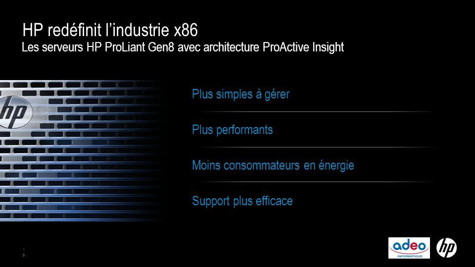 Les serveurs HP ProLiant Gen8 avec architecture ProActive Insight HP redéfinit l'industrie x86 19 Plus simples à gérer Plus performants Moins consommateurs en énergie Support plus efficace