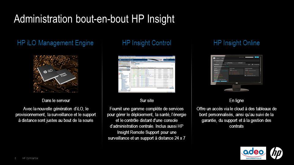 HP iLO Management EngineHP Insight ControlHP Insight Online Dans le serveur Avec la nouvelle génération d'iLO, le provisionnement, la surveillance et le support à distance sont justes au bout de la souris Sur site Fournit une gamme complète de services pour gérer le déploiement, la santé, l'énergie et le contrôle distant d une console d'administration centrale.