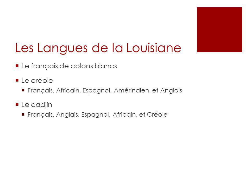 Les Langues de la Louisiane  Le français de colons blancs  Le créole  Français, Africain, Espagnol, Amérindien, et Anglais  Le cadjin  Français,