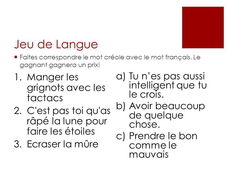 Jeu de Langue  Faites correspondre le mot créole avec le mot français. Le gagnant gagnera un prix! 1.Manger les grignots avec les tactacs 2.C'est pas