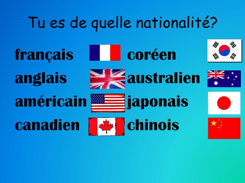 français anglais américain canadien coréen australien japonais chinois